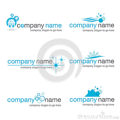 Set of six cleaning logos (vector)