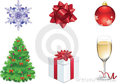 Set of six colorful christmas objects for web
