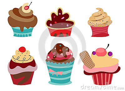 Set of six cute Cupcakes.