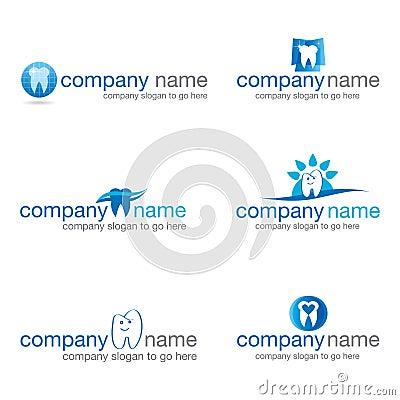 Set of six dental logos (vector)