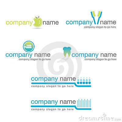 Set of six dental logos (vector)