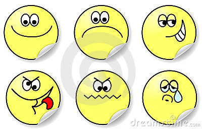 Set of six expressions of emotion vector
