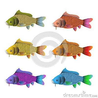Set of six fish