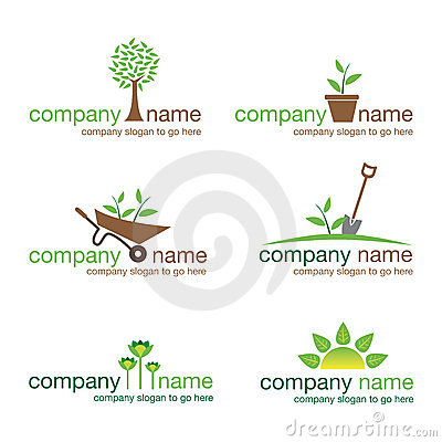 Set of six gardening and nature logos (vector)