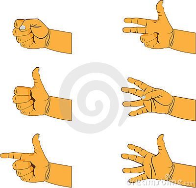 Set of six hand gestures