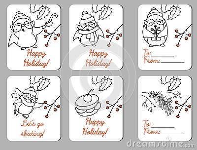 Set of six holiday tags with funy penguins Vector Illustration