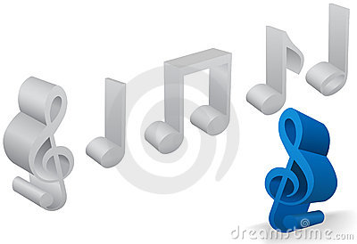 Set of six musical note symbols in 3D on white
