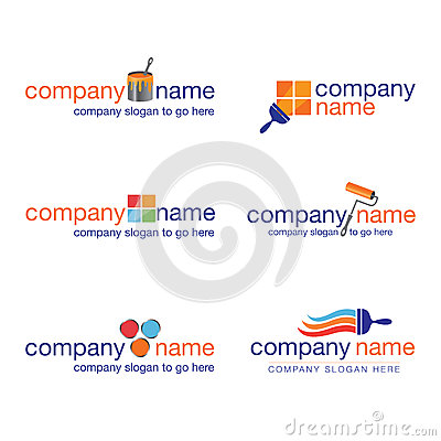 Set of six painter and decorator logos (vector)