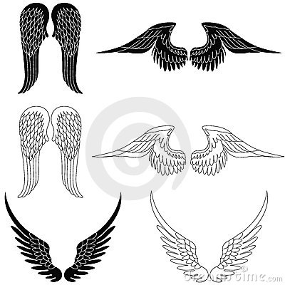 Set of six pairs of angel wings