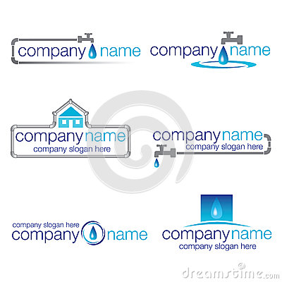 Set of six plumbing and water logos (vector)
