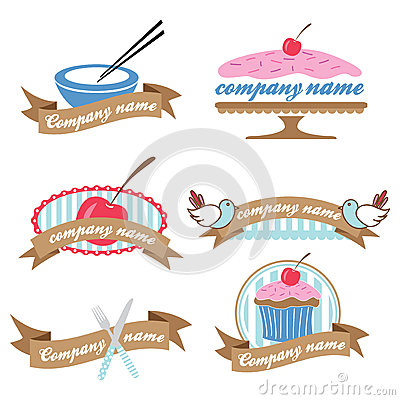 Set of six retro cookery logos (vector)