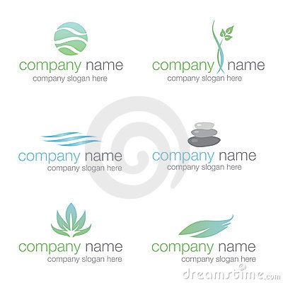 Set of six spa and wellness logos (vector)