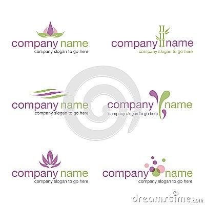 Set of six spa and wellness logos (vector)
