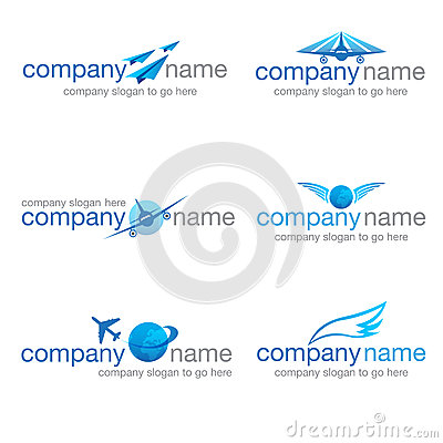 Set of six transport and travel logos (vector)