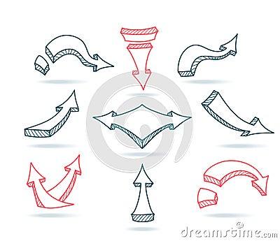 Set Sketch arrows on beige grunge background Vector Illustration