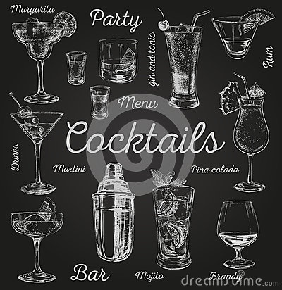 Set of sketch cocktails and alcohol drinks vector hand drawn illustration Vector Illustration