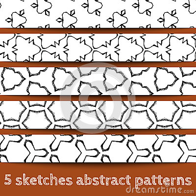 Set of sketches abstract seamless patterns