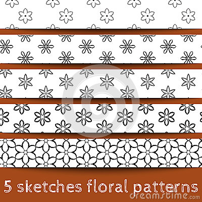 Set of sketches floral patterns