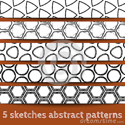 Set of sketches geometric seamless patterns