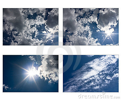 Set of sky and clouds with sun in star shape
