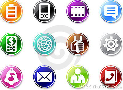 Set of small mobile phone icons.