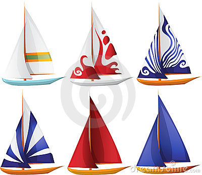 Set of Small Sailing Boats