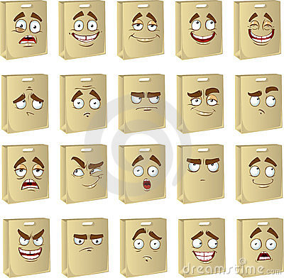 Set of smiles clean paper bags for food