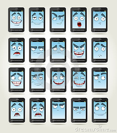 Set of smiles phones with different emotions