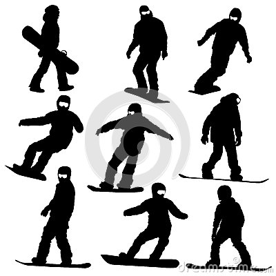 Set  snowboarders silhouettes.