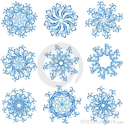 Set snowflakes. Vector illustration