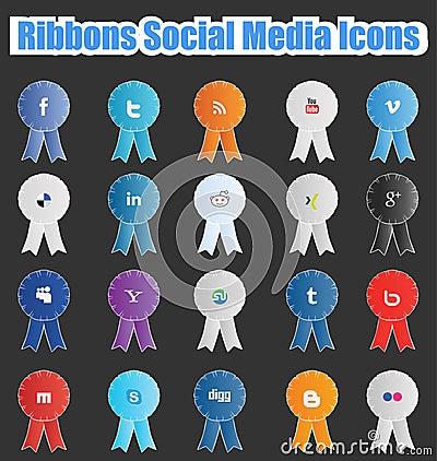 Ribbons Social Media Icons Editorial Image