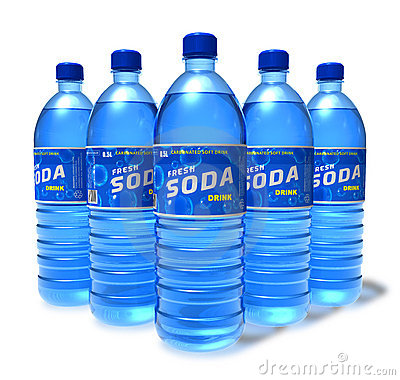 Set of soda drinks in plastic bottles
