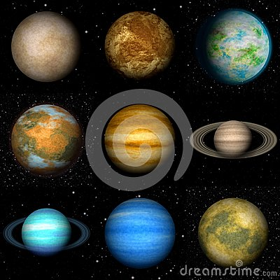 Set Of Solar System Planets Generated Textures Stock ...