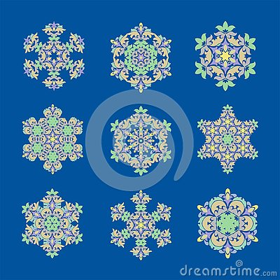 Set sophisticated snowflake design element. Line structure minimal vector decor Stock Photo