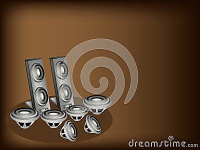 A Set of Speaker on Dark Brown Background