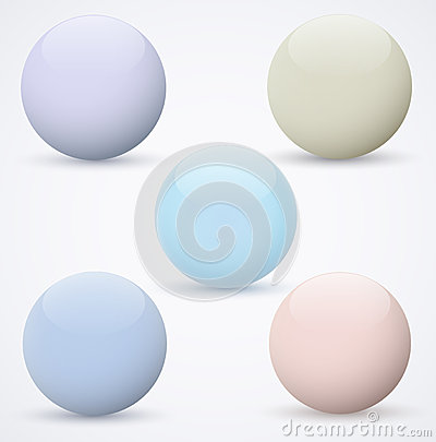 Set of spheres on a white background
