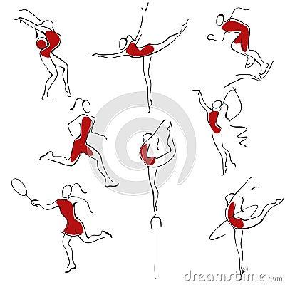 Set sport icons. woman.