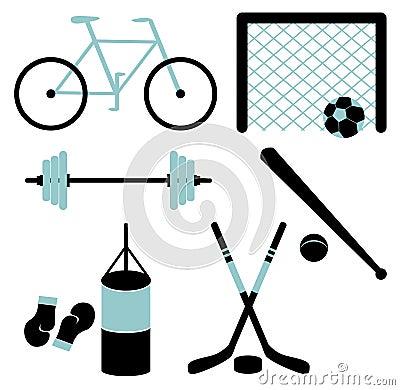 Set of sporting equipment. Vector illustration.