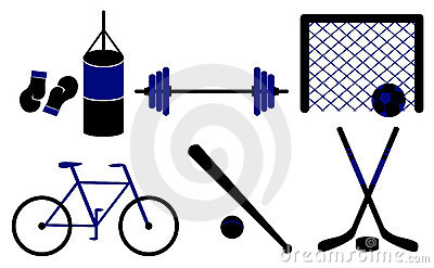 Set of sporting equipment. Vector illustration.
