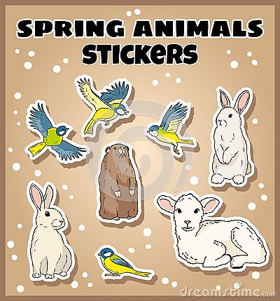 Set of spring animals stickers. Label doodles collection Vector Illustration