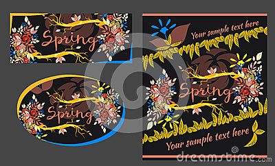 Set of spring and summer greeting cards Vector Illustration