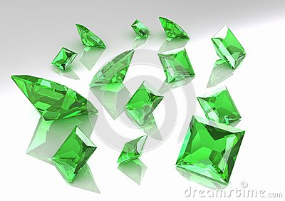 Set of square green topaz stones - 3D