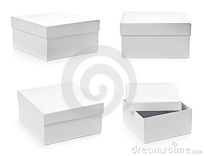Set of square pasteboard gift boxes
