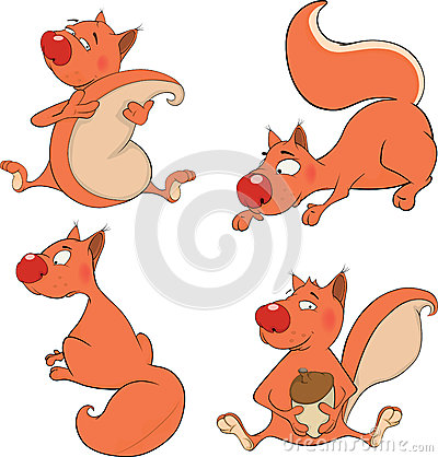 Set of squirrels cartoon