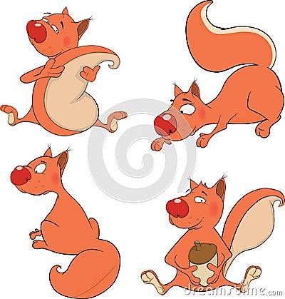 Set of squirrels cartoon