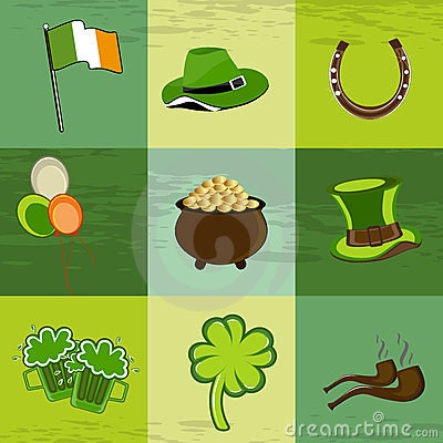 A set of St. Patrick s Day elements.