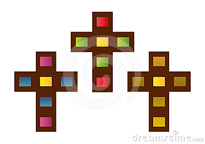 Set of stained glass crosses