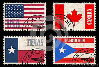 Set of stamps with flags from North America