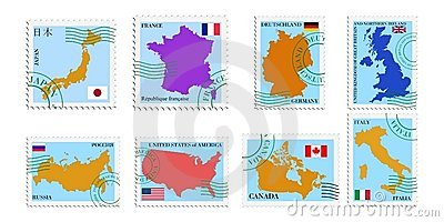 Set of stamps of G8 countries