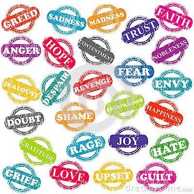 Set of stamps with positive and negative emotions
